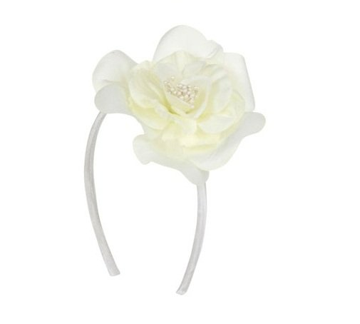 Trendy WHITE Rose Headband