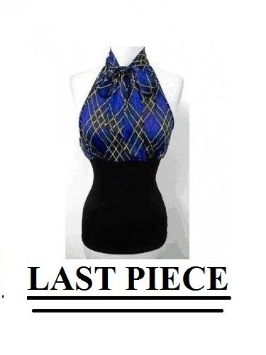 Small Size, Sexy Blue Plaid Halter Tank Top for Juniors