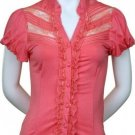 Small Size Pretty Pink Lace and Ruffle Sleeve Blouse for Ladies