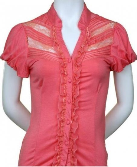 Large Size Pink Lace and Ruffle Dressy Top for Ladies
