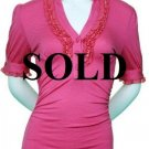 SOLD OUT! Large Size Women's Pink Ruffle Top with Sleeves