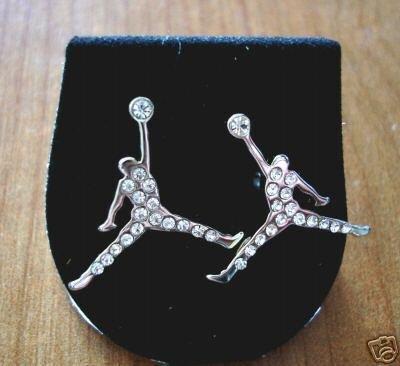 michael jumpman logo silver stud earrings new