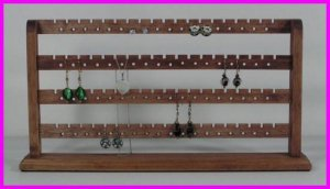 Red Mahogany Stained Solid Wood Earring 148 Pc Jewelry Earring Rack Display NEW