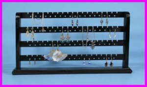 ** Black Painted Solid Wood 148 Pc Earring Bracelet Jewelry Rack Display NEW **