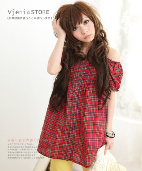 [W0010]Gorgeous Red Checked Blouse ��款������主�格������红�