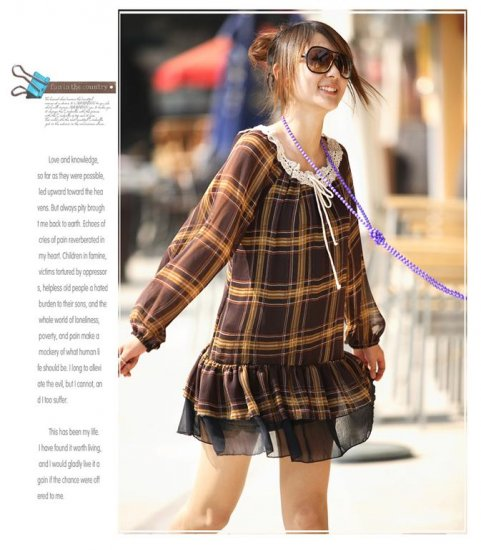 [W0028] Fashion Brown Chiffon Checked Tunic Dress ��格����纺������