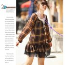 [W0028] Fashion Brown Chiffon Checked Tunic Dress 时尚格子裙摆雪纺洋装—咖啡色