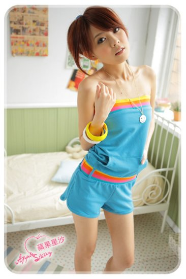 [W0051] Korean Style 1-piece Tube Top Bottom - Blue �������身裤���