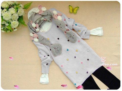 [W0052] Cute Furly Dots Jumper/Sweater - Light Grey ��款��������--���