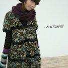 [W0031] Trendy Chiffon Flower Flora Print Tunic Dress-Black 韩版时尚大碎花裙--黑色