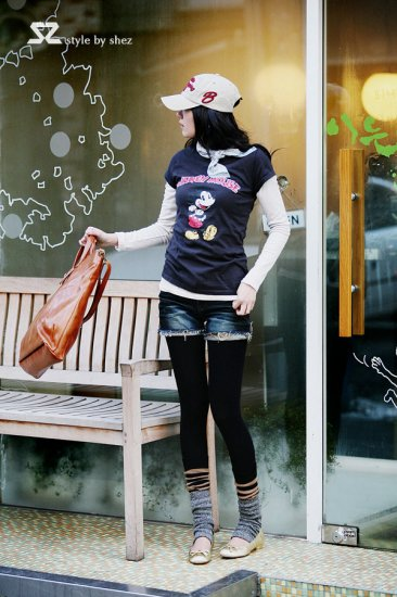 [W0034] Trendy Mickey Mouse T-Shirt - Blue �����IN款米�鼠T�--��