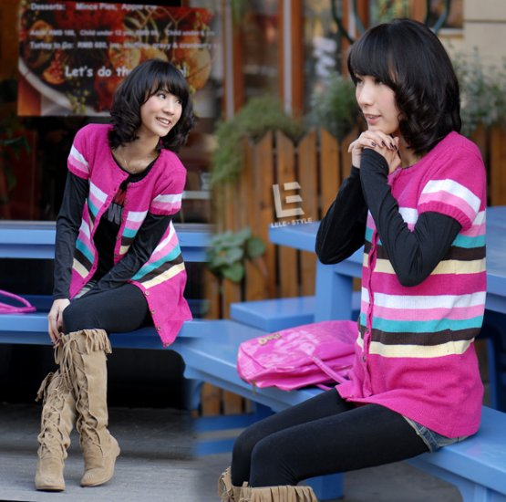 [W0041]Gorgeous Colorful Stripes Cardigan/Blouse 彩��衫�衣--�红�