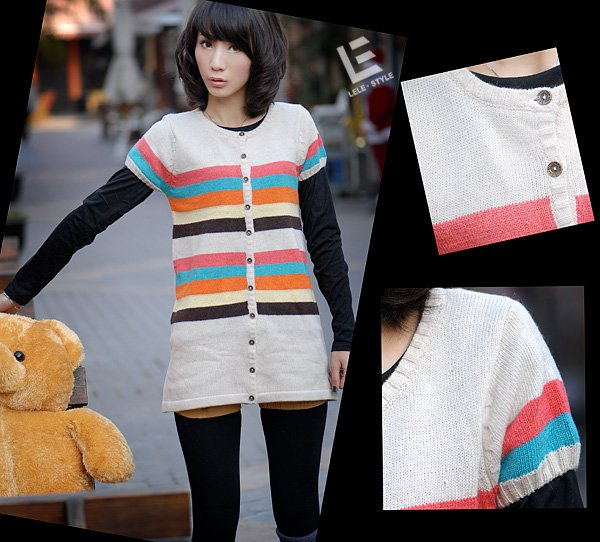 [W0042]Gorgeous Colorful Stripes Cardigan/Blouse 彩��衫�衣--米�
