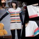 [W0042]Gorgeous Colorful Stripes Cardigan/Blouse 彩条开衫毛衣--米色