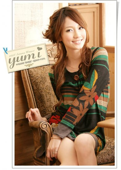 [W0043] Trendy Flora Print Tunic Dress �������