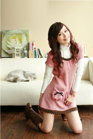 [W0001] Cute Pink Baby Doll Dress  ����边������--��