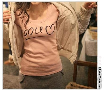 [W0002] Love Figure Fit Long Sleeves T-Shirt  �款��个�����T�