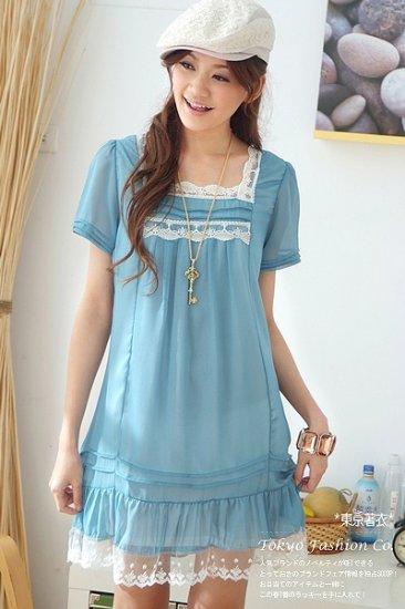 [W0006] Trendy Ladies Lace Dress - Blue  ���女���衣���