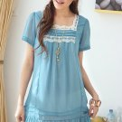 [W0006] Trendy Ladies Lace Dress - Blue  韩版淑女裙摆上衣—蓝色