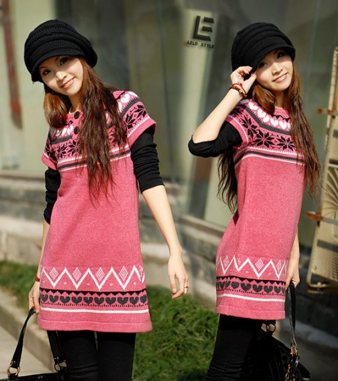 [W0009] Trendy Peachy Pink Sweater Dress/Blouse  ���衣��红�