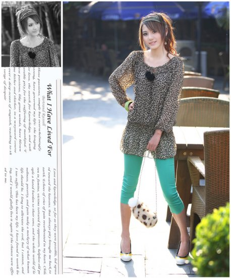 [W0011] Trendy Leopard Print Chiffon Blouse  ��豹纹�纺��--���
