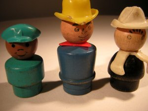 Fisher Price Vintage Wooden Little People Set of Three Workers (HC06)