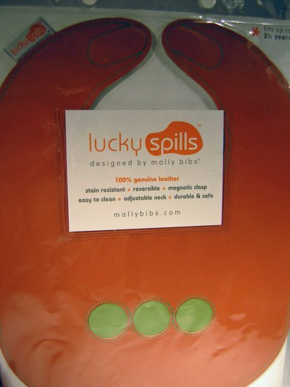 Lucky Spills Magnetic Bib by Mally Bibs Orange (HC08)