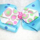 Handmade Hair Ribbon Bow Blue Pink Polk a Dot Design