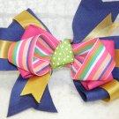 Handmade Hair Ribbon Bow Royal Blue Gold Pink Trim