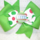 Handmade Hair Ribbon Bow Green Holiday Ornament