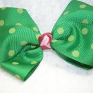 Handmade Hair Ribbon Bow Green Polk a Dot