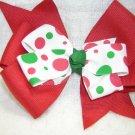 Handmade Hair Ribbon Bow Red White Green Holiday