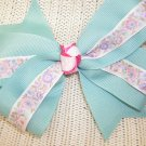 Handmade Hair Ribbon Bow Teal with Floral Purple Pink