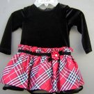 Bonnie Baby Velour Long Sleeve Red Black Holiday Dress Size 18 Months(HC26)