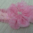Lulupink Dog Elastic Sequence Pink Head Bow Small (HC13)