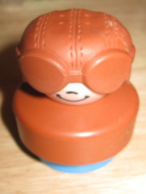 Fisher Price Mattel Vintage Little People Aviator Wearing Goggles Bomber Hat 1980