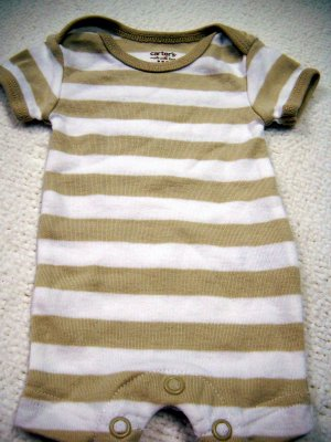 Carter�s One Piece Preemie Boys Snap Stripped Short Sleeve Romper (HC19)