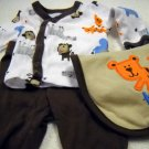Carter's One Piece Preemie Boys 2PC Pant and Top Assorted Zoo Animal Print (HC19)