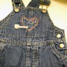 Carters Denim Overalls Adjustable Strap Embroider Accent  Dots  Bottom 6 Months