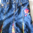 Paris Blue Pleated Denim Skirt Adjustable Waist Size 6 (HC26)