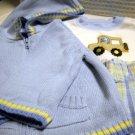 Carters Child of Mine Pants Short Sleeve Bodysuit Hooded Sweater Set 100% Cotton Boys 9M (HC25)