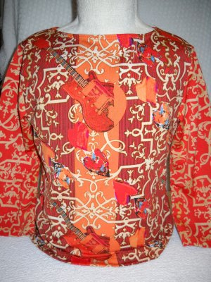 Three-Quarter Sleeve Guitar Orange Pattern Print Girls Top Size 7/8 by Thalia & Sodi (HC19)