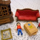 Playmobil Geobra Victorian Mansion China Cabinet, Sofa, Chair, and Figure 1989 (HC10)
