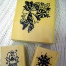 Wood Rubber Stamp Snowflake, Candy Cane and Angel Holiday Set (HC)