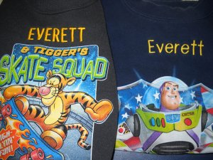 TWO Disney Sweatshirts Monogrammed �EVERETT� Size 5/6 (HC19)