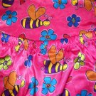 Girls Silky 2PC PJ Bright Pink with Flowers and Bumble Bees (HC19)