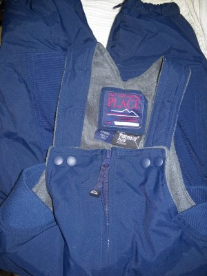 The Children's Place Navy Fleece Lined Overall Snow Pants Adjustable Straps Size 24 Months (HC)