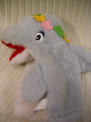 Dolphin Puppet Nose Squeaks Plush Hand Puppet (HC15)