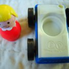 Fisher Price Vintage Little People Cylinder Person and Car