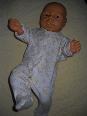 Anatomically Correct Baby 17 inch GIRL Caucasian Doll Wrinkles Life Size Blue Eyes (HB2)